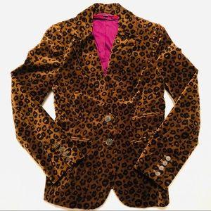 Boden Leopard Print Velvet Blazer Size 4